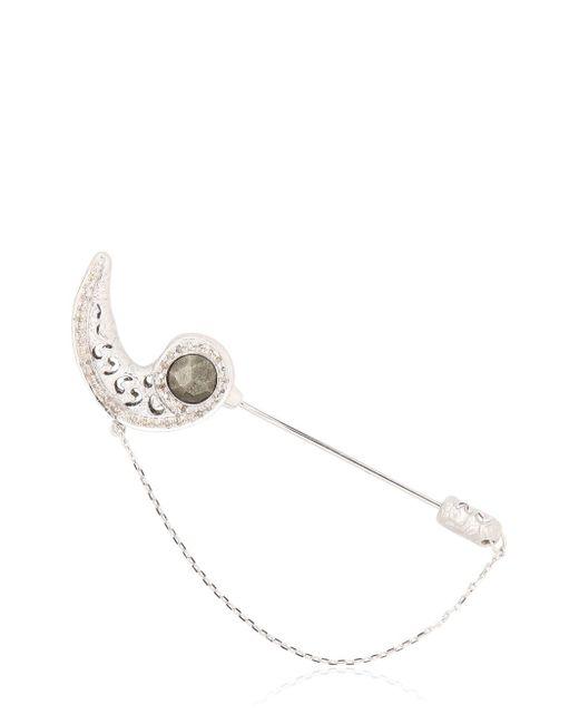 Marco Ta Moko | White Toki Pyrite And Diamond Pin | Lyst