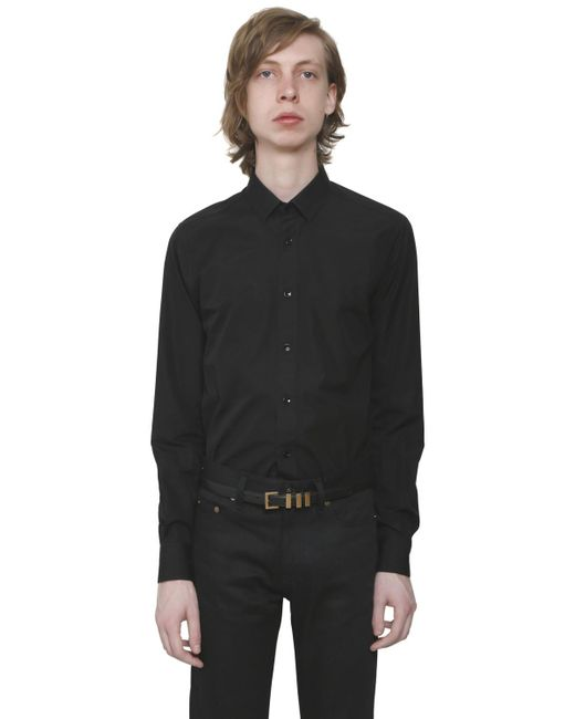 Saint Laurent | Black Cotton Poplin Shirt for Men | Lyst