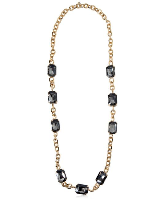 DSquared² | Metallic Long Chain Necklace With Crystals | Lyst