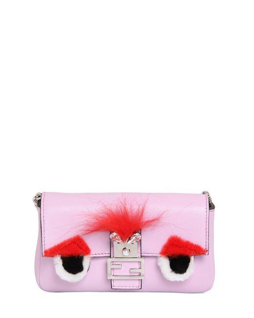 Fendi | Pink Micro Baguette Monster Leather Bag | Lyst