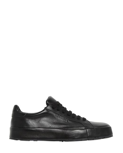 Jil Sander | Black 10mm Leather Covered Sneakers | Lyst