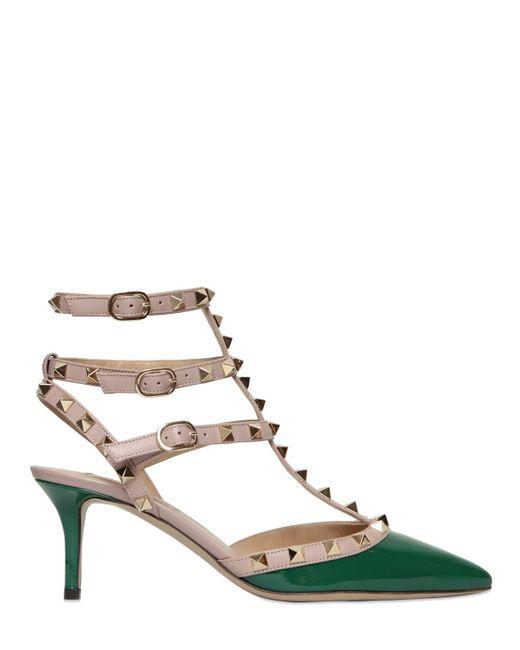 Valentino | Green 65mm Rockstud Patent Leather Pumps | Lyst