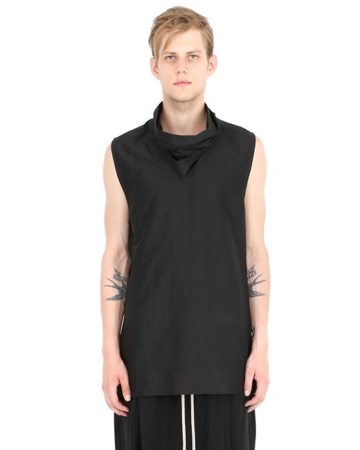 Rick Owens | Black Sleeveless Cotton & Silk Poplin Shirt for Men | Lyst