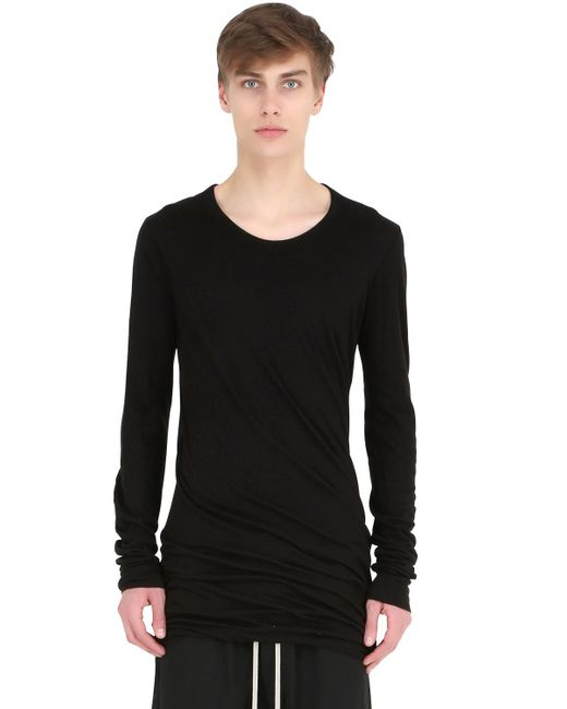Rick Owens | Black Double Cotton Jersey Long Sleeve T-shirt for Men | Lyst