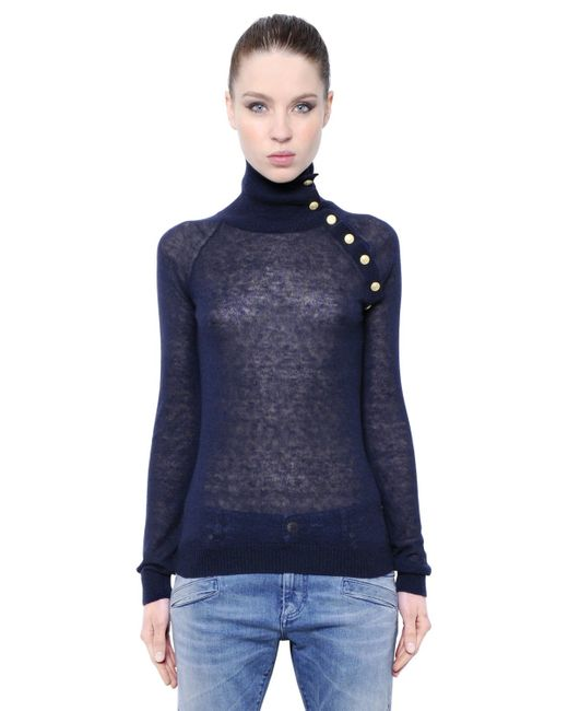 Balmain | Blue Mohair Wool Blend Turtleneck Sweater | Lyst