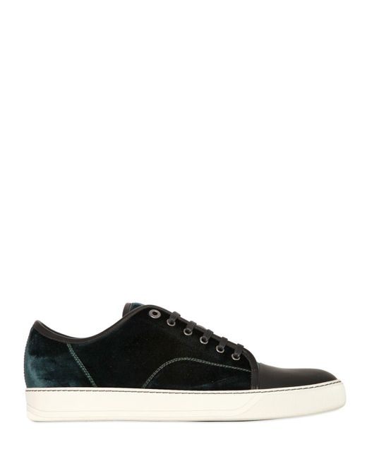 Lanvin | Green Velvet and Leather Low-Top Sneakers for Men | Lyst