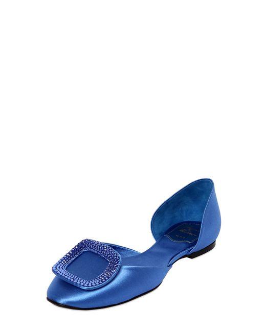 Roger Vivier | Blue Chips Satin Strass D'orsay Flat | Lyst