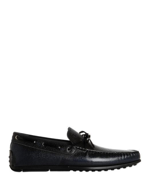 """Tod's   Blue """"spider"""" Embossed Leather Driving Shoes for Men   Lyst"""