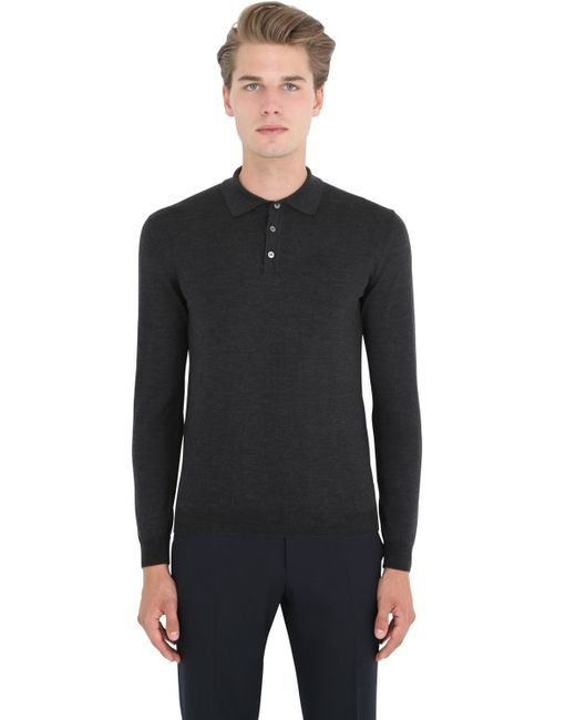 Incotex | Gray Flexwool Long Sleeve Polo Sweater for Men | Lyst