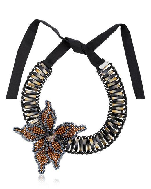 Night Market | Black Flower Bronze Necklace | Lyst