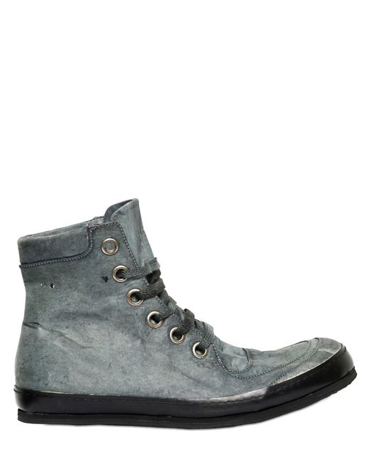 A Diciannoveventitre | Gray Washed Leather High Top Sneakers for Men | Lyst