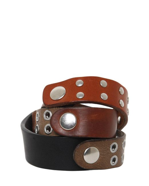 Maison Margiela | Black Studded Leather Wrap Bracelet | Lyst