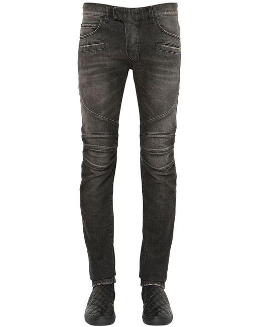 Balmain | Black 17cm Biker Washed Cotton Denim Jeans | Lyst