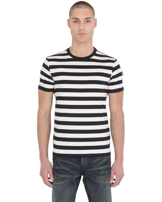 Moncler striped cotton jersey t shirt in black for men for Off white moncler t shirt