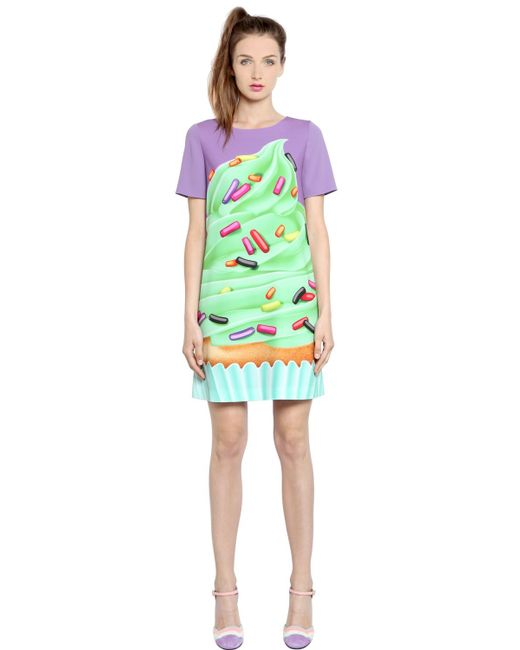 Boutique Moschino | Multicolor Cupcake Printed Techno Cady Dress | Lyst