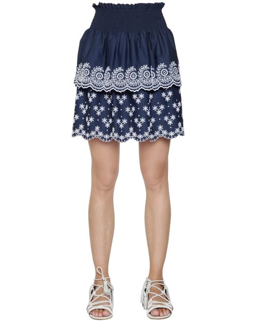 Philosophy Di Lorenzo Serafini | Blue Embroidered Cotton Poplin Eyelet Skirt | Lyst
