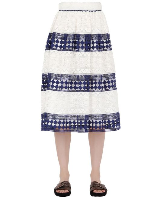Philosophy Di Lorenzo Serafini | White Striped Cotton Macramé Skirt | Lyst