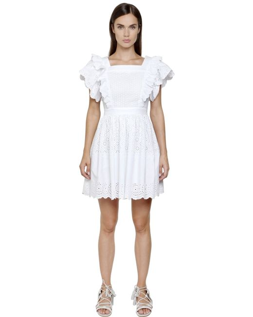 Philosophy Di Lorenzo Serafini | White Embroidered Cotton Poplin Eyelet Dress | Lyst
