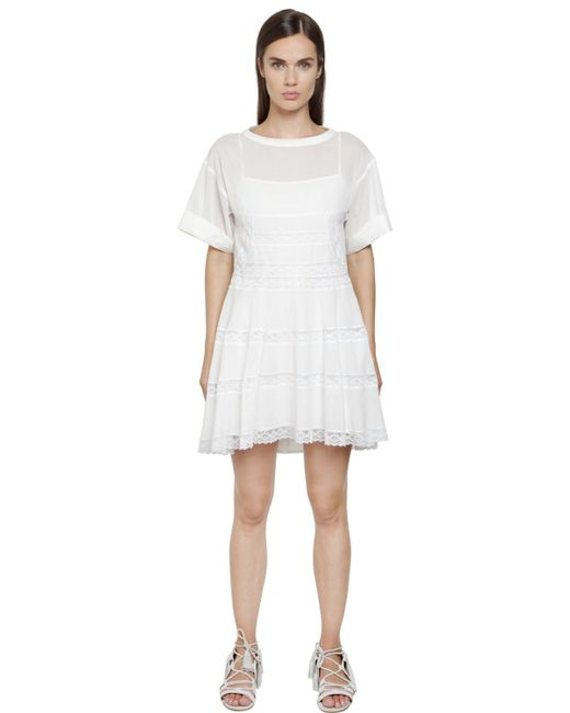 Philosophy Di Lorenzo Serafini | White Cotton Muslin Dress With Lace Inserts | Lyst