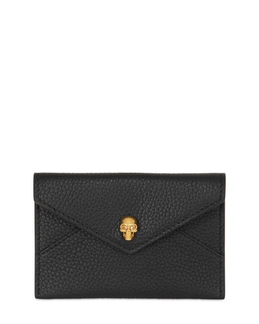 Alexander McQueen | Black Grained Leather Business Card Holder | Lyst