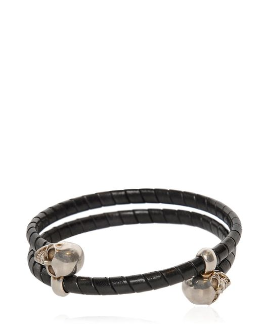 Alexander McQueen | Black Skull Leather Covered Wrap Bracelet for Men | Lyst
