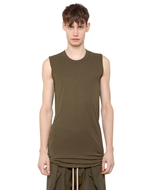 Rick Owens | Green Silk & Viscose Jersey Sleeveless T-shirt for Men | Lyst