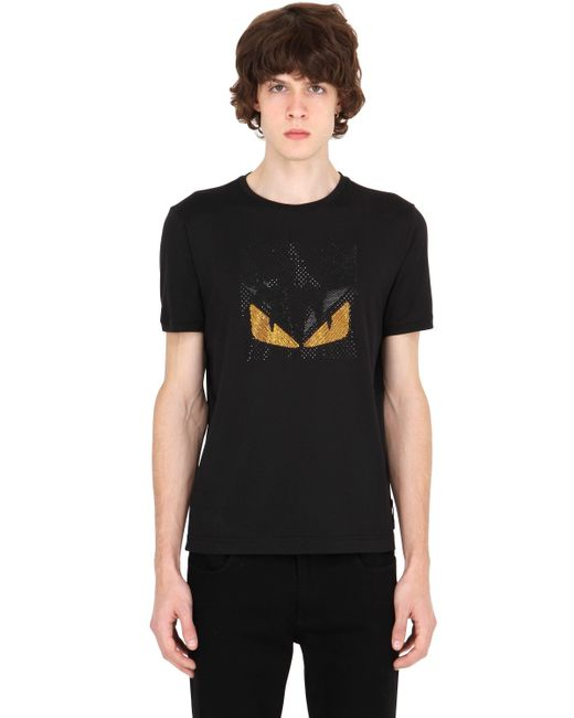 Fendi | Black Monster Rhinestone Cotton T-shirt for Men | Lyst
