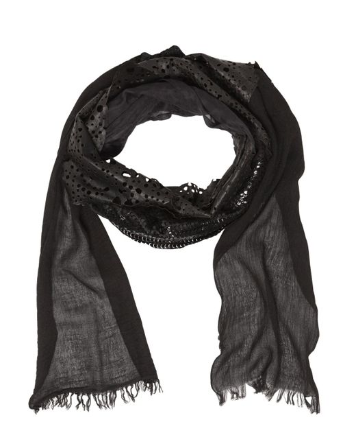 Cutuli Cult | Black Patchwork Leather & Silk Scarf for Men | Lyst