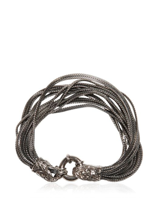 Emanuele Bicocchi | Metallic Multi Chain Bracelet With Skull Detail | Lyst