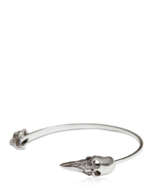Emanuele Bicocchi   Metallic Silver Skull Spike Thin Bangle Bracelet for Men   Lyst