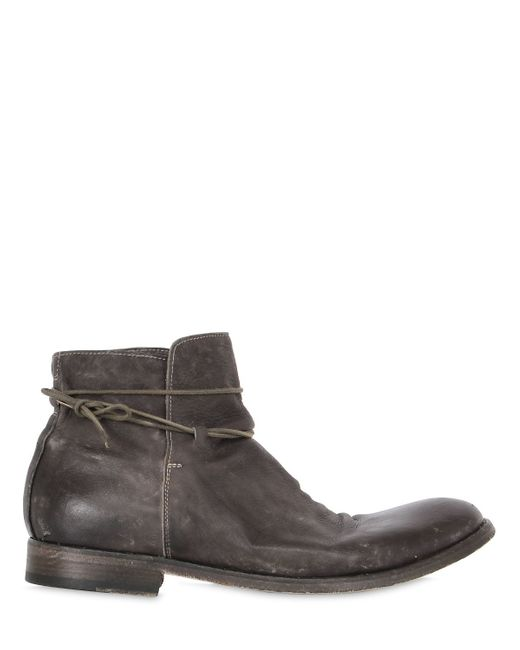 shoto washed leather ankle boots in gray for lyst