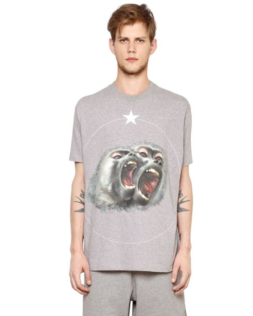 Givenchy | Gray Columbian Monkeys Cotton Jersey T-shirt for Men | Lyst