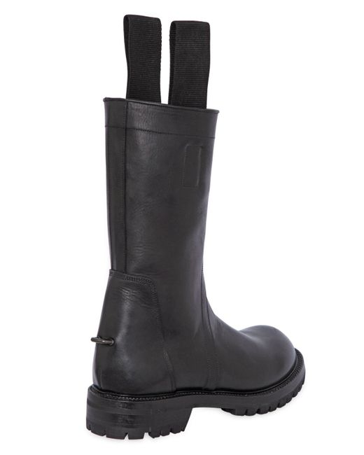 rick owens leather biker boots with pull loops in black