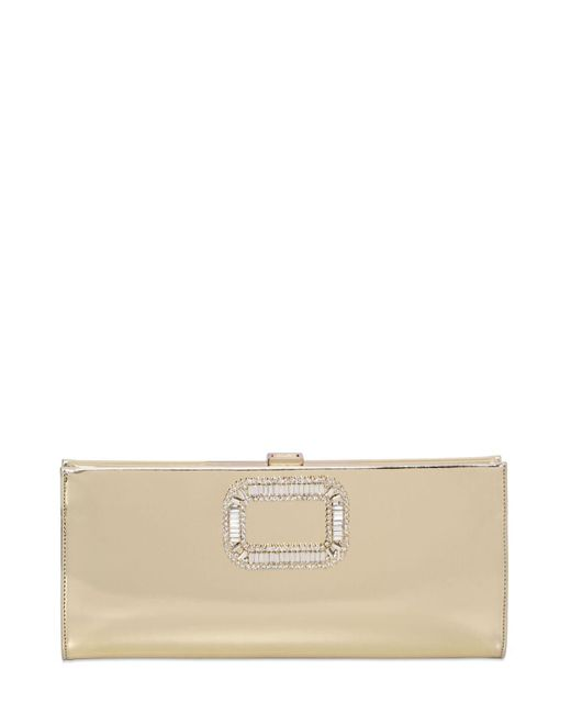 Roger Vivier | Metallic Pilgrim Swarovski Mirror Leather Clutch | Lyst