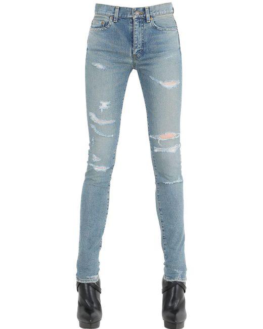 Saint Laurent - Blue Washed & Destroyed Cotton Denim Jeans - Lyst