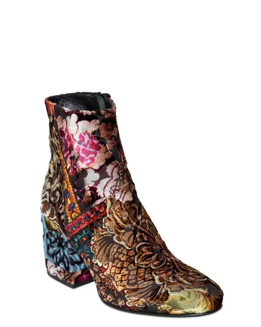 Strategia 70mm Brocade Velvet Ankle Boots Lyst