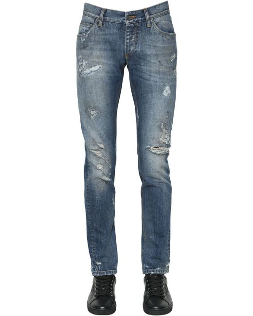 Dolce & Gabbana | Blue 17cm Destroyed Cotton Denim Jeans for Men | Lyst