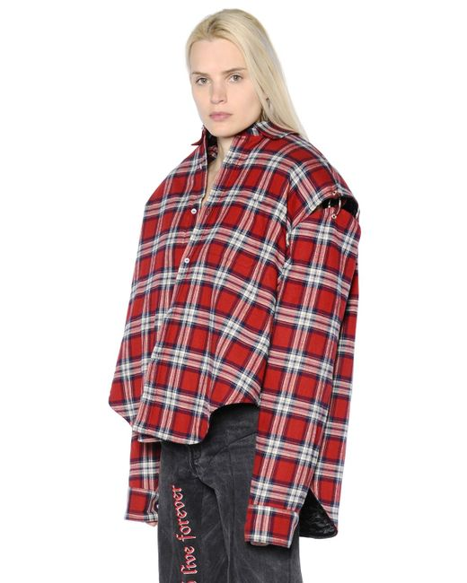 Vetements oversized cutout plaid cotton flannel shirt in for Oversized red plaid shirt