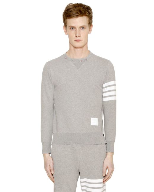 Thom Browne | Gray Intarsia Stripes Distressed Sweatshirt for Men | Lyst
