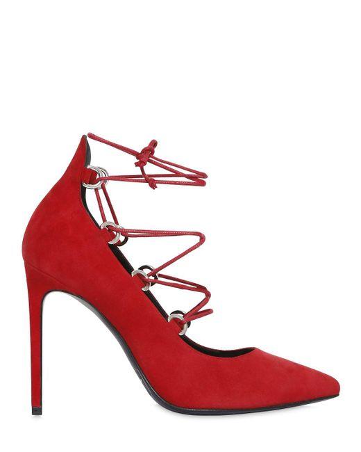 Saint Laurent | Red 105mm Paris Skinny Lace-up Suede Pumps | Lyst