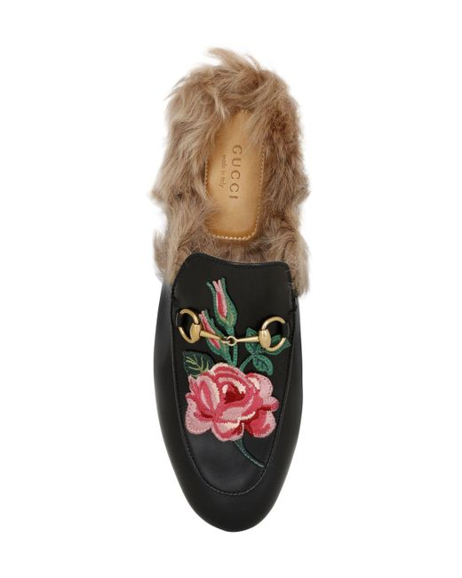 Lyst Gucci Princetown Bow Fur Lined Mule In Black Save 50