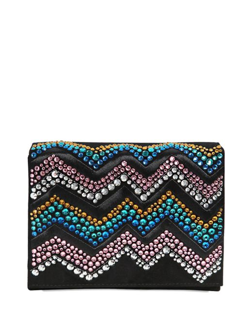 Giuseppe Zanotti | Black Zigzag Crystal Embellished Suede Clutch | Lyst