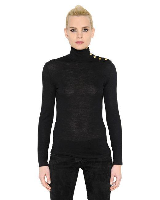 Balmain | Black Gold Buttons Turtleneck Wool Sweater | Lyst