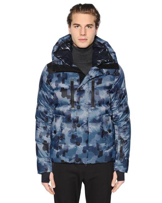 moncler grenoble camouflage zip up jacket in blue for men save 58 lyst. Black Bedroom Furniture Sets. Home Design Ideas