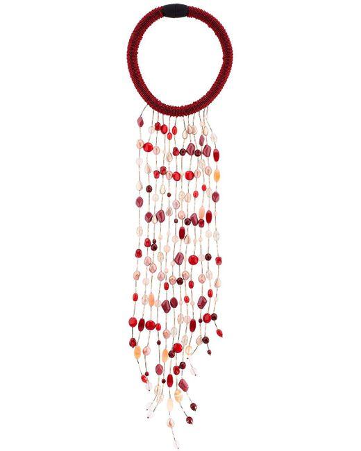 Sharra Pagano   Red Burgundy Long Fringe Necklace For Lvr   Lyst