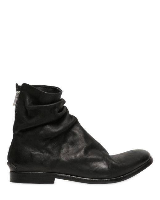 the last conspiracy wrinkled matte leather boots in black