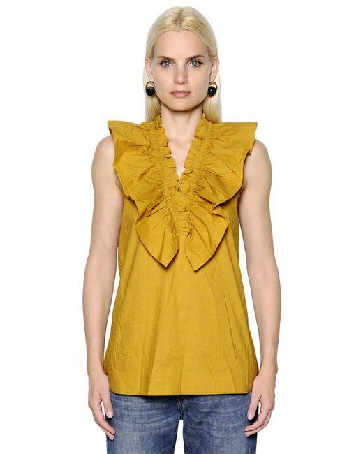 Marni | Yellow Ruffled Crisp Cotton Poplin Top | Lyst