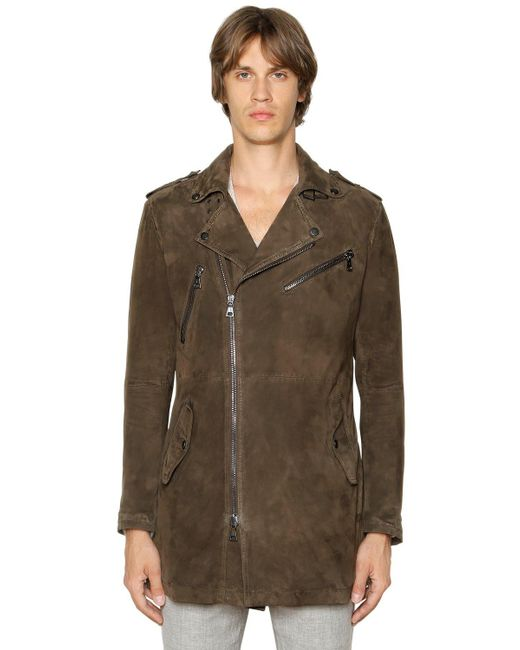 John varvatos Lightweight Suede Long Biker Jacket in Brown ...