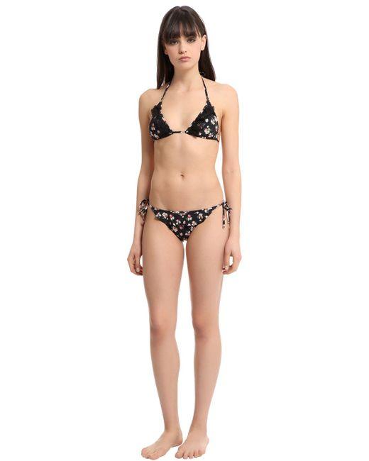 Stella McCartney | Black Vintage Floral Triangle Bikini Top | Lyst