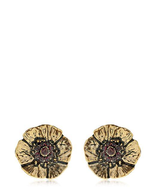 Alcozer & J   Metallic Cloe Clip-on Earrings With Garnets   Lyst